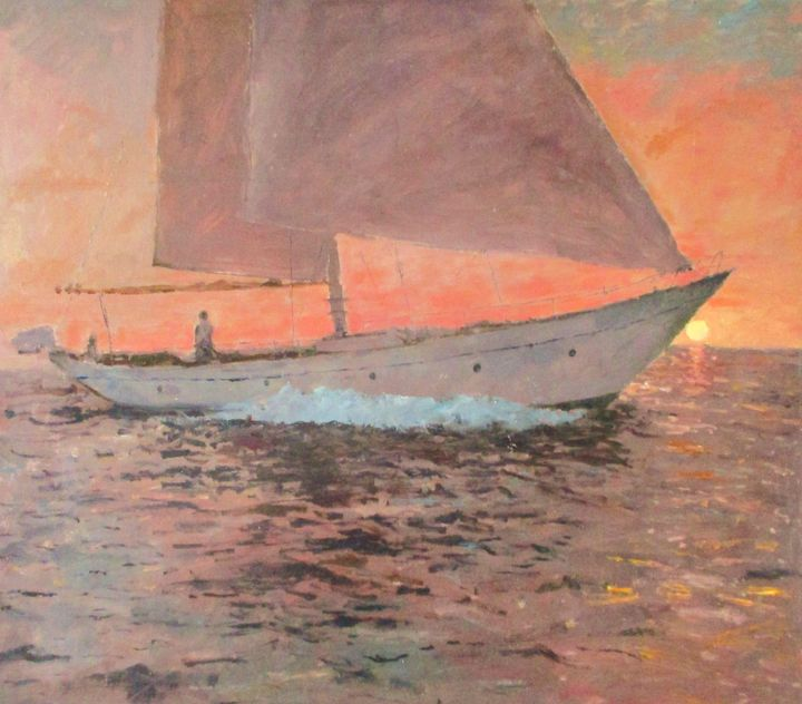 Sunset Yacht at Sea - Riverview Gallery