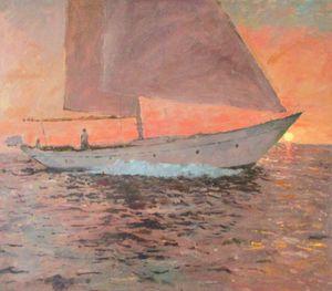 Sunset Yacht at Sea
