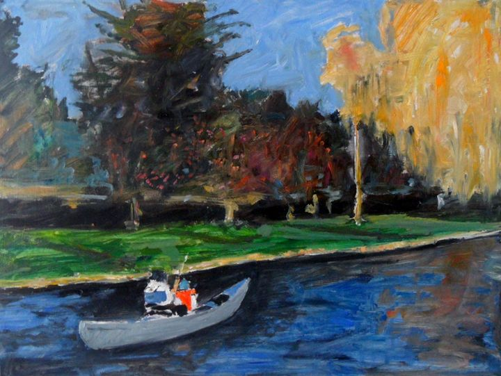 Canoe on river Cam Cambridge - Riverview Gallery