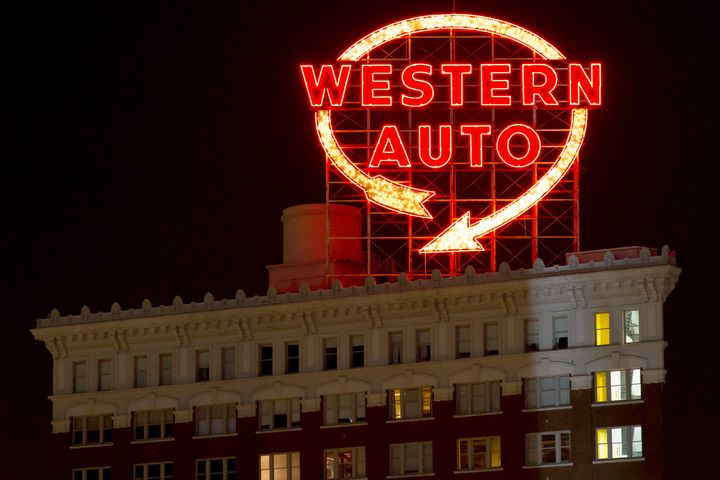 Western Auto Neon Sign Lit at Night - Russell Honey Photography