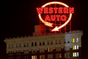 Western Auto Neon Sign Lit at Night
