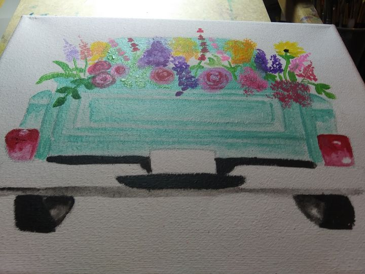 Hand Painted floral truck - Missygirl