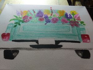 Hand Painted floral truck
