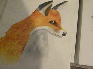 Original red fox watercolor