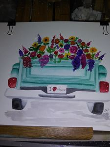Watercolor floral truck