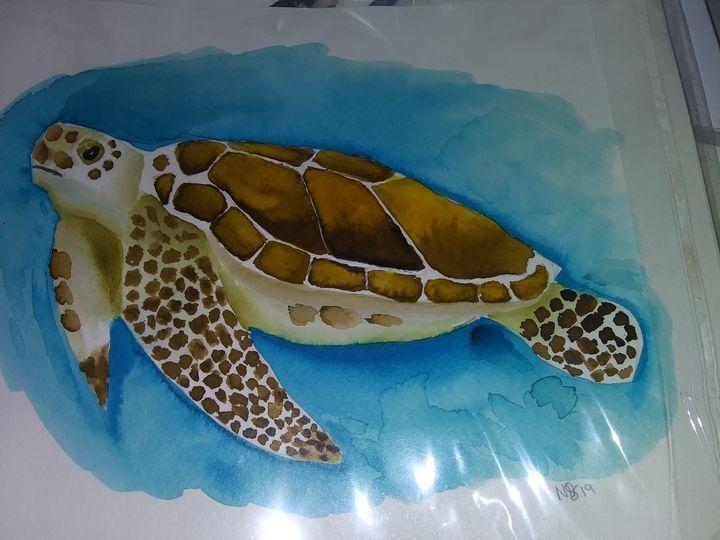Watercolor sea turtle - Missygirl
