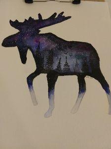 Galaxy watercolor moose