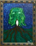Original Oil Canvas, Tree Baphomet