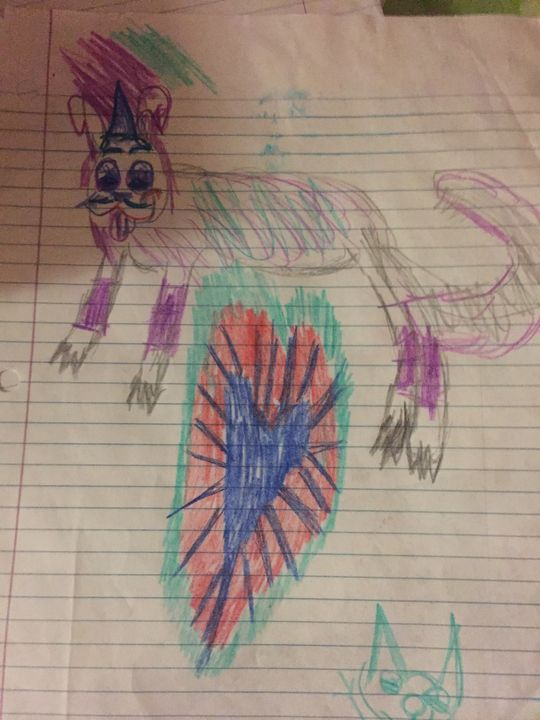 Purple cat with a heart - Mandy