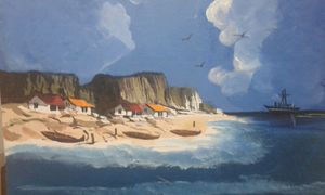 sea shore canvas painting