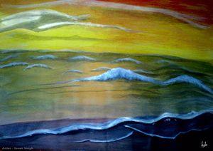 Amazing Wave Art along side beach