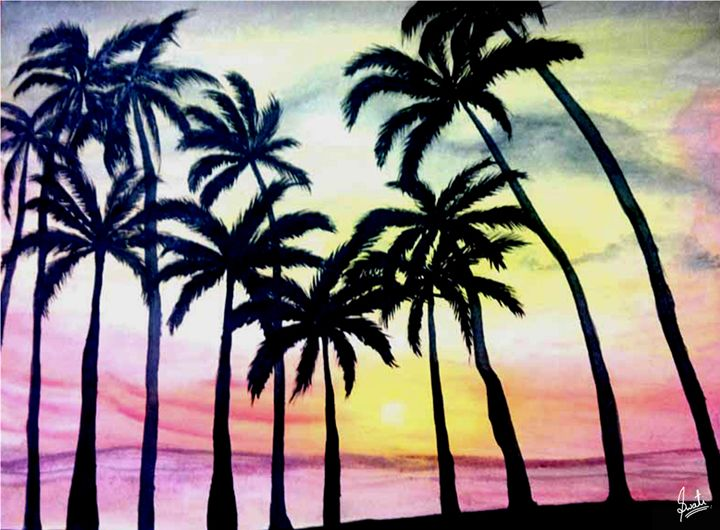 Beach side colorfull painting - Magical Art World