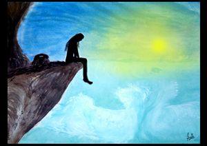 Ocean Wave Art - Girl on cliff