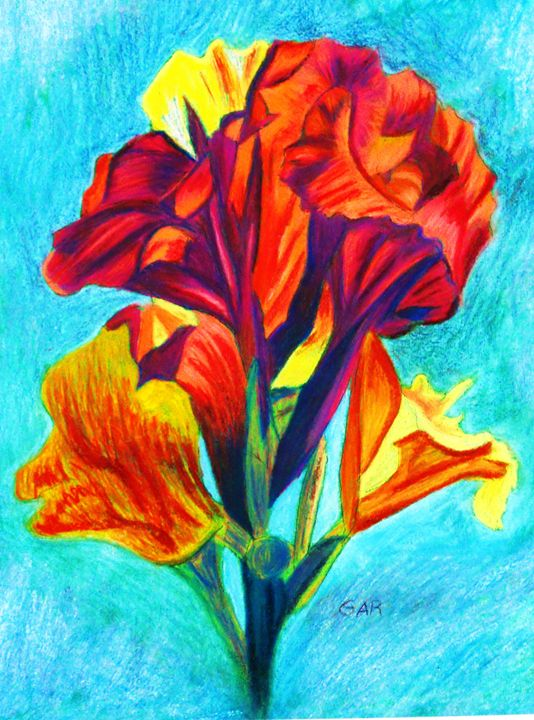 Red and Yellow Canna with orange spe - www.Artpal.com/alphacortius