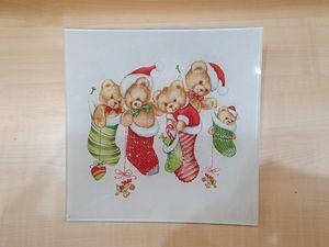Christmas-themed glass plate