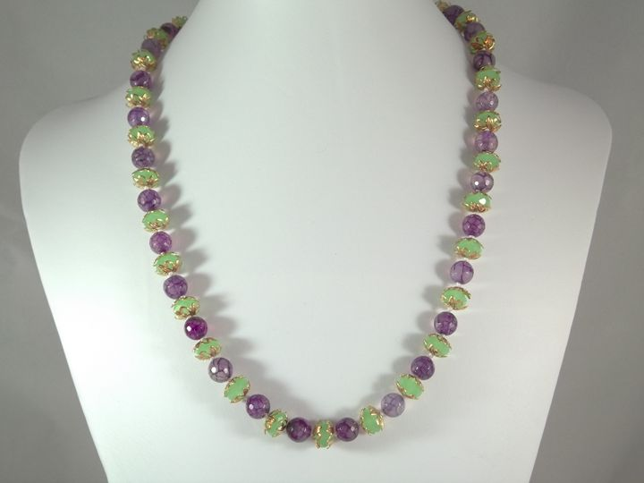 purple agate & green glass necklace - Handmade Elegance and More by Derick