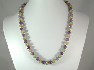 purple agate & green glass necklace