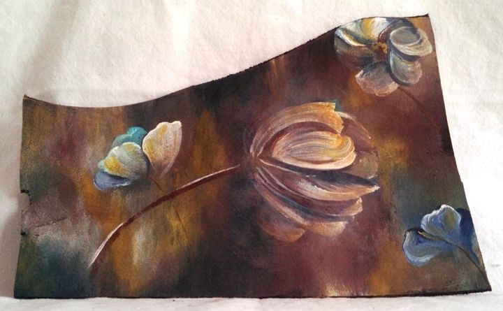 "magnolias on leather 9""x6"" - dianestudio"