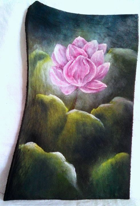 """waterlilly on leather 9""""x6"""" - dianestudio"""