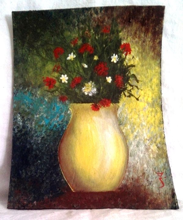 "yellowvase on leather 6""x9"" - dianestudio"