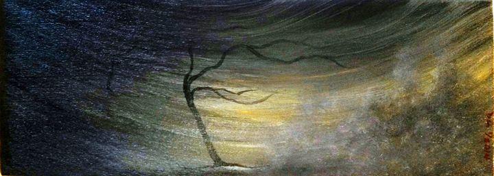 "windswept trees 7""x18"" - dianestudio"