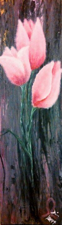 """3 pink tulips 5""""x18"""" - dianestudio"""