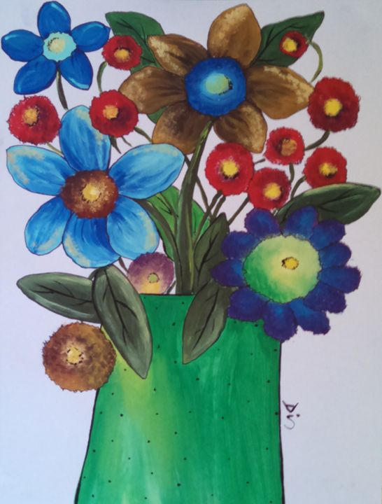 folk art flowers in vase - dianestudio