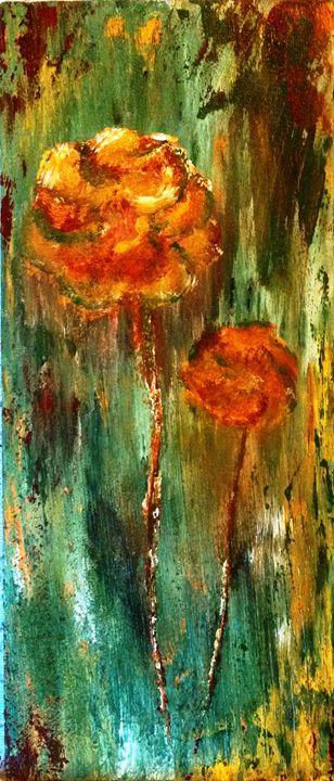 "2 yellow roses 8""x18"" - dianestudio"