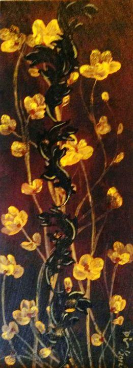 "yellow flowers 7""x19"" - dianestudio"