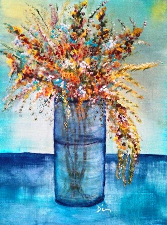 blue jar flowers - dianestudio