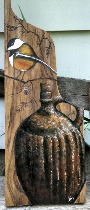 acrylic on vintage wood - dianestudio