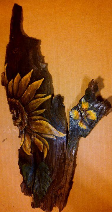 sunflower on wood - dianestudio