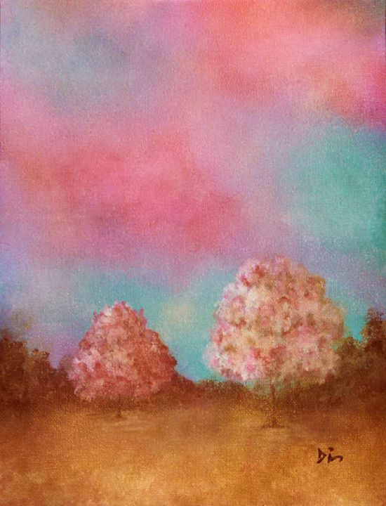 pink blue tree abstract - dianestudio