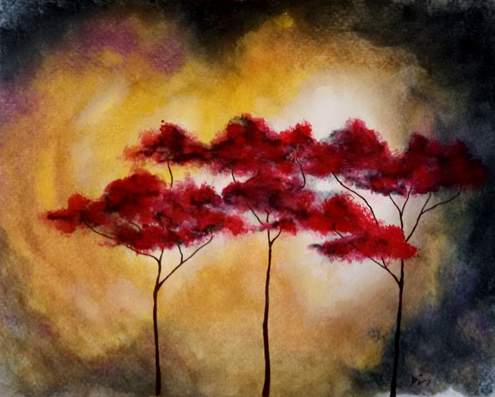 red trees abstract - dianestudio