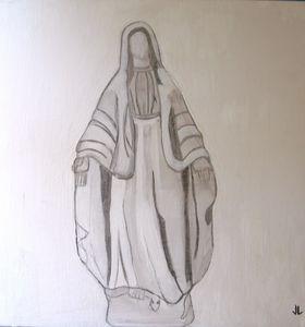 Virgin Mary oil color on board
