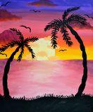 hand made sunset painting