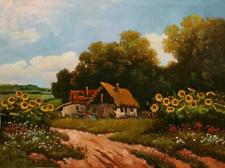 Stories from the old farm - sunflowe - my paintings