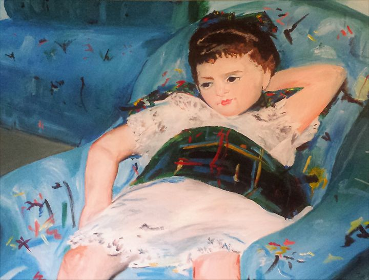 Little girl in blue chair - Julie Clarke