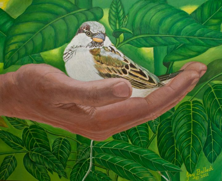 In The Palm Of His Hand - JoyBallackFineArt