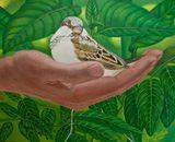 Original, acrylic, bird painting.