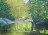 Large, green, nature, oil painting.