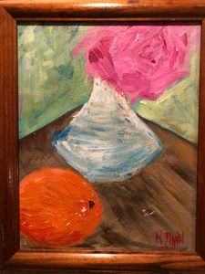Still Life with Pink Rose and Orange