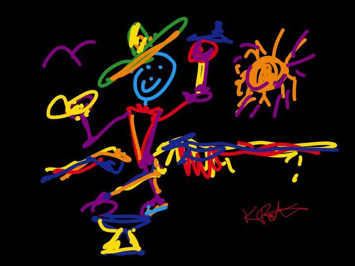 Balancing Man at Night at  Fiesta - Kenny P. Doodle Art