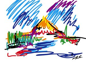 Colorfully abstract mountain