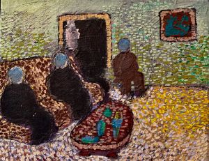Three People Sitting - Thomas Cue