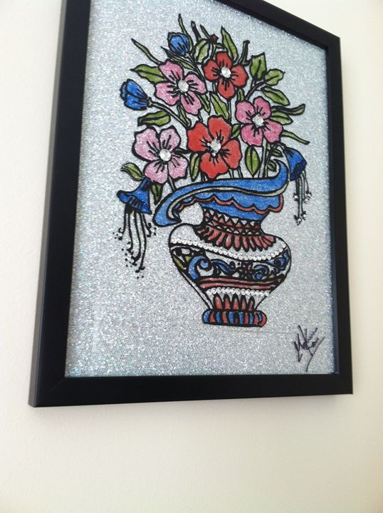 Flowers n Vase - Glass Painting