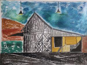 Abstract Farmhouse landscape