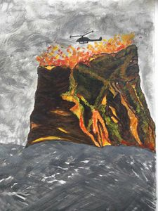 Watercolor, Volcano, Volcano Mountai
