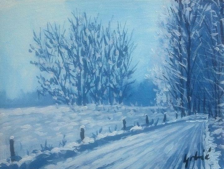 Snow on road - AlenGrbicFineArt