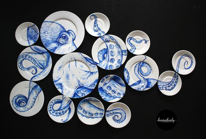Octopus Plate Wall Art.2019.110x70cm - Homebody